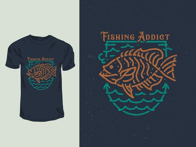 Illustrazione della maglietta di disegno del distintivo del tossicodipendente di pesca