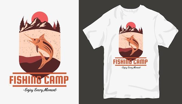 Campo di pesca, design t-shirt da pesca.
