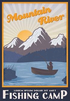 Poster del campo di pesca vicino al fiume di montagna