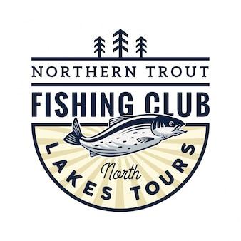 Logo dell'illustrazione del distintivo del club di pesca