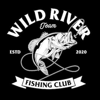 Design del club di pesca con illustrazione di pesce spigola