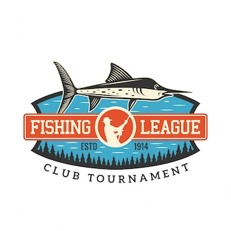 Logo dell'illustrazione del distintivo di torneo della lega del club di pesca