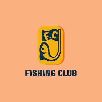 Design del logo del club di pesca, logo della comunità senza scopo di lucro, modello del logo della pesca per hobby.