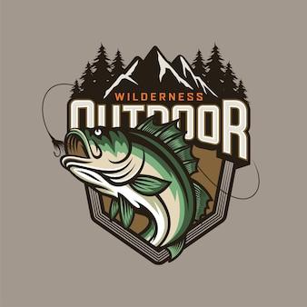Modello di logo del club di pesca isolato su grigio