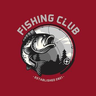 Modello di logo del club di pesca isolato su colori intelligenti