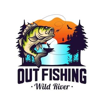 Modello di logo del club di pesca isolato su bianco