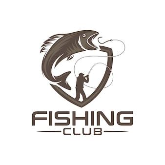 Logo del club di pesca con illustrazione maschile