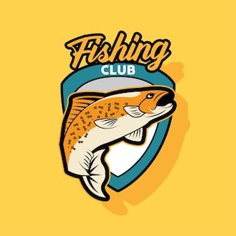 Patch club di pesca in stile retrò