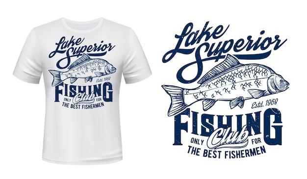 Illustrazione incisa della stampa della maglietta del club di pesca