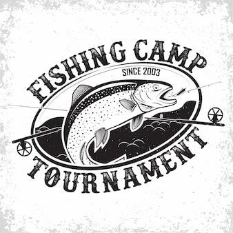 Design logo vintage club di pesca