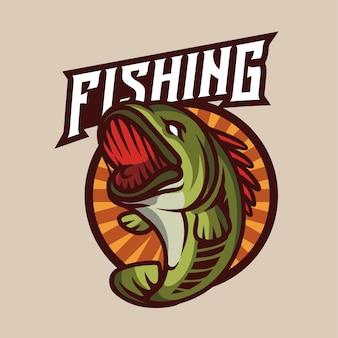 Logo vintage del club di pesca