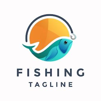 Logo colorato di pesca