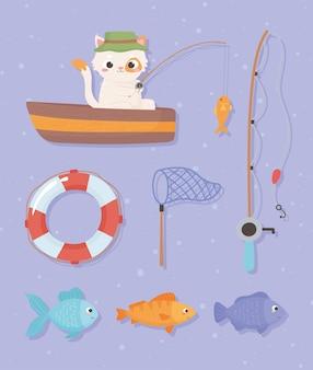 Collezione di elementi di pesca