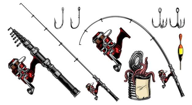 Elementi di pesca vintage composizione colorata con canne da spinning galleggiante, ganci per mulinello e lattina metallica di vermi isolati