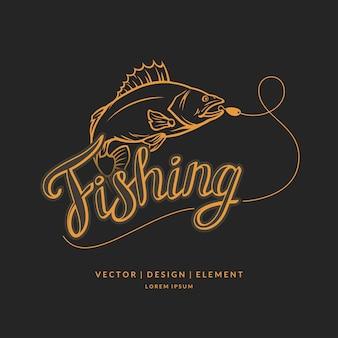 Emblema di pesca moderno disegnato a mano lettering frase iinscription per layout e modello