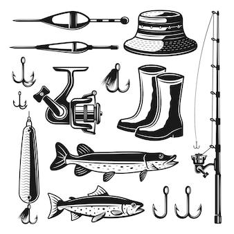 Attrezzature da pesca e affronta insieme di oggetti o elementi monocromatici