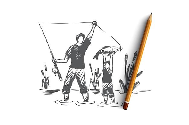Pesca, padre, figlio, concetto di famiglia. papà disegnato a mano e suo figlio che pescano insieme schizzo di concetto.