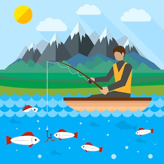 Illustrazione di concetto creativo piatto di pesca, uomo con canna da pesca in una barca, montagne sullo sfondo, sole, per poster e striscioni