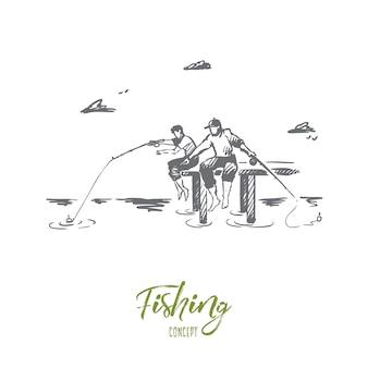 Pesca, amici, due, concetto di vacanza. due amici disegnati a mano che pescano sullo schizzo di concetto della riva del fiume.