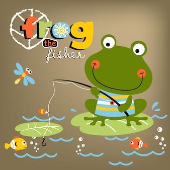 Cartone animato di rana di pesca