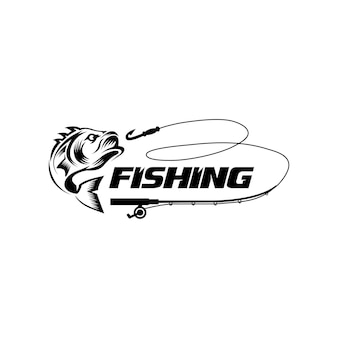 Modello di logo di hobby di pesca in nero cacciatore di pesci