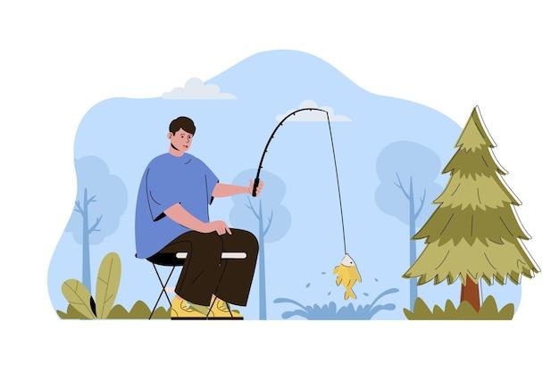 Concetto di vacanza di pesca uomo pescatore cattura il pesce con la canna che riposa nella foresta
