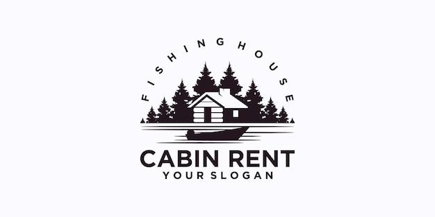 Logo della casa di pesca, logo dell'affitto della casa della cabina