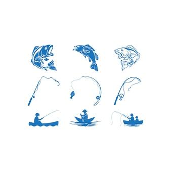 Modello del pacchetto stabilito del disegno dell'icona di pesca isolato