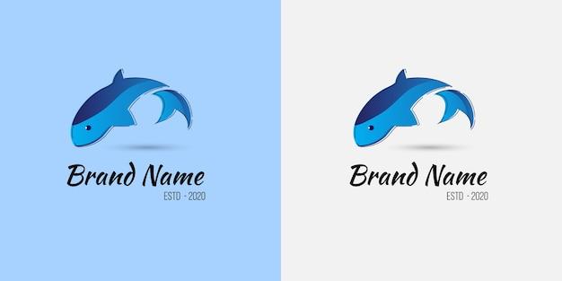 Concetto di logo di pesca con un pesce che salta