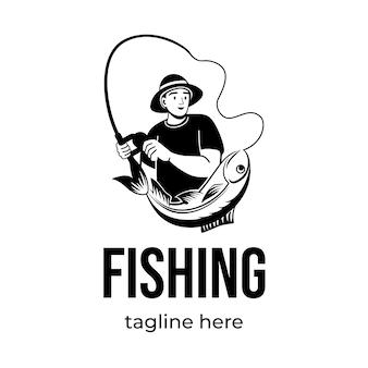 Progettazione dell'illustrazione di progettazione di logo di pesca