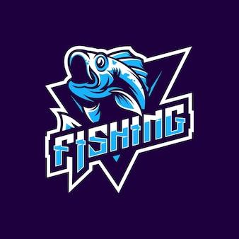 Design del logo di pesca per la tua squadra o club