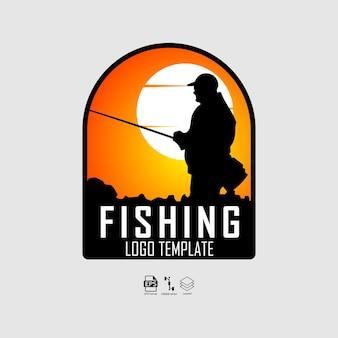 Modello di logo di pesca con uno sfondo grigio