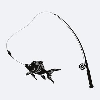 Logo di pesca con canna da pesca e pesce. illustrazione vettoriale.