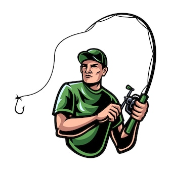 Illustrazione di pesca uomo