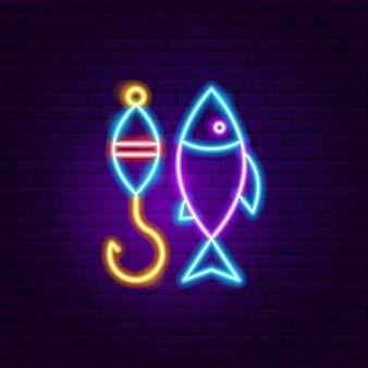 Insegna al neon di pesca. illustrazione vettoriale di promozione all'aperto.