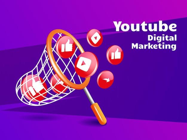 Rete da pesca e concetto di social media di marketing digitale dell'icona di youtube