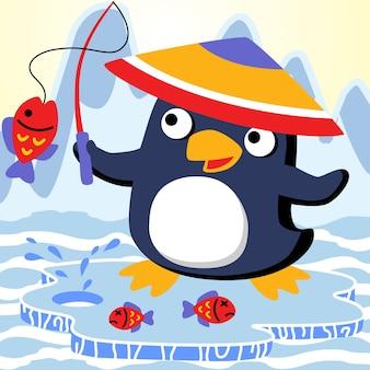 Fumetto del pinguino di pesca