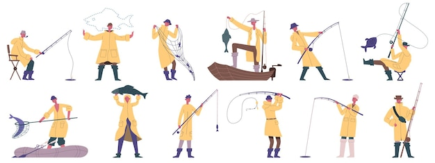 Gente di pesca. set di illustrazioni vettoriali per lo sport di pesca all'aperto, la ricreazione per hobby, la pesca in barca o da riva. mascotte dei pescatori di pesca dei cartoni animati