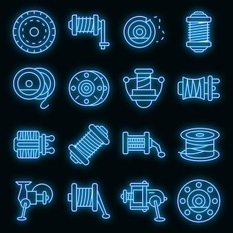 Set di icone di mulinello da pesca. contorno set di icone vettoriali mulinello da pesca colore neon su nero