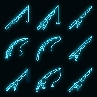 Set di icone di canna da pesca. contorno set di icone vettoriali canna da pesca colore neon su nero