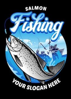 Disegno del salmone da pesca