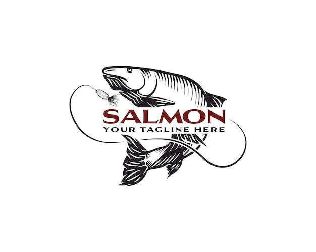 Modello di progettazione del logo del salmone da pesca