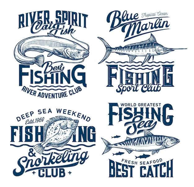 Stampe marine di club di pesca e snorkeling con pesci e onde del mare