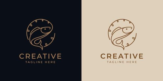 Modello di progettazione di logo di sport di pesca modello di progettazione di linea moderna di logo di vettore dell'illustrazione di pesce ottenuto esca