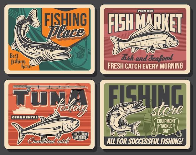 Poster retrò di sport di pesca con pesce, attrezzatura da pescatore e barca da pesca