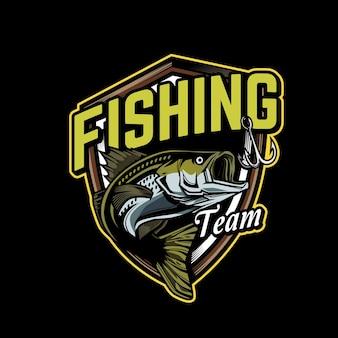 Modello di logo della squadra di pesca
