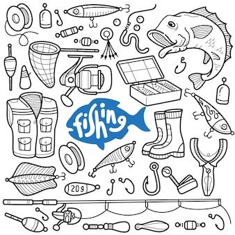 Strumenti e attrezzature per la pesca in bianco e nero doodle illustrazione
