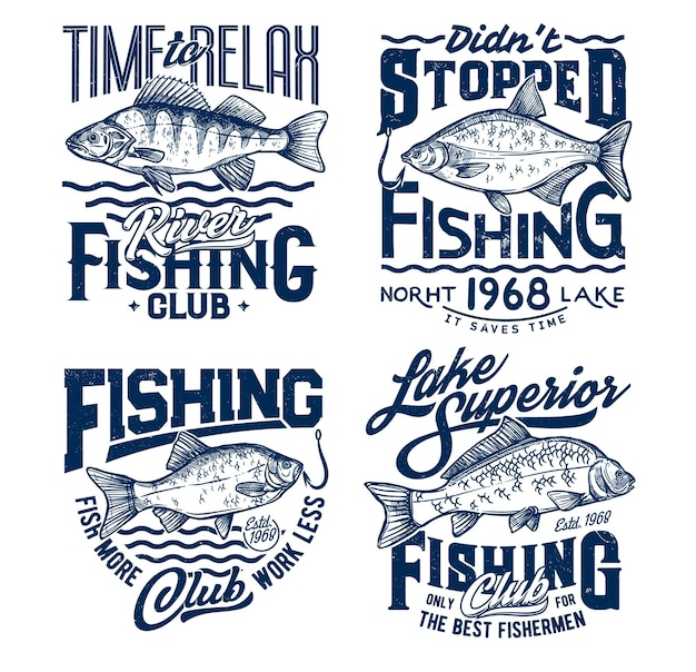 T-shirt da pesca stampate con pesci, maglietta ocean fisher club