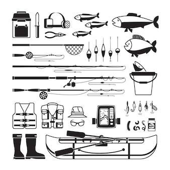 Icone nere di vettore di pesca. attrezzatura ed esche, bobber e abbigliamento da pescatore
