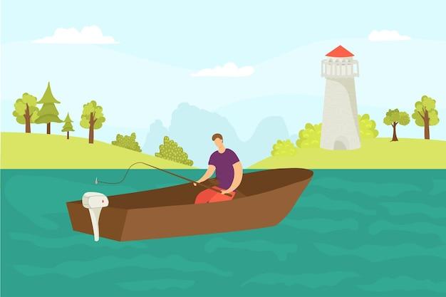 Pesca in acqua illustrazione vettoriale carattere pescatore sedersi in barca pescare pesce dalla natura del fiume da...